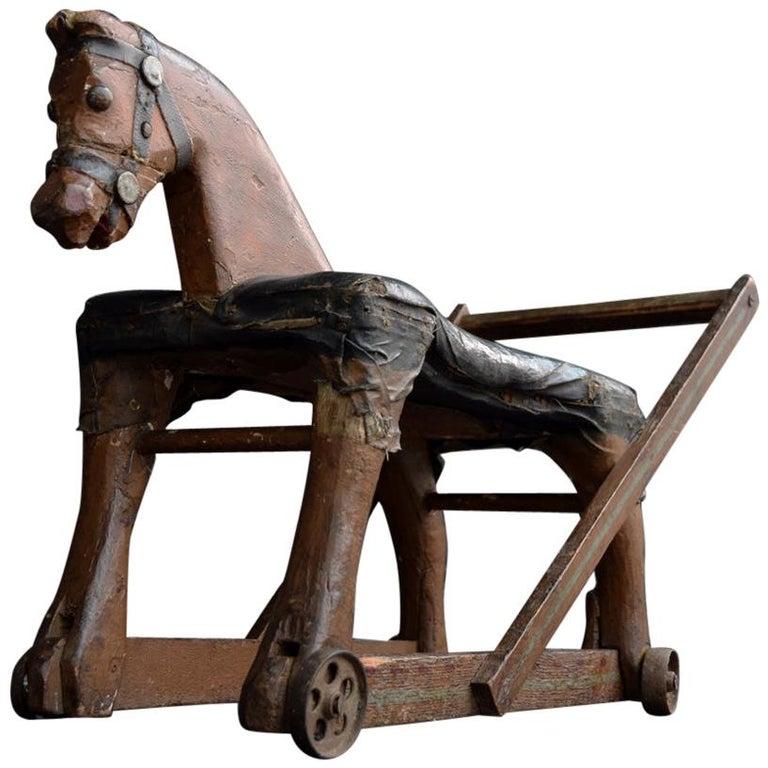 19th Century Folk Art Child's English Horse Toy For Sale