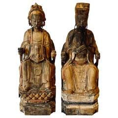 19th Century Folk Art Chinese Statues of Emperor and Empress, Solid Wood Carving