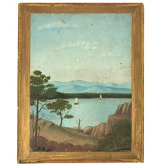 19th Century Folk Art Double Sided  Landscape Painting