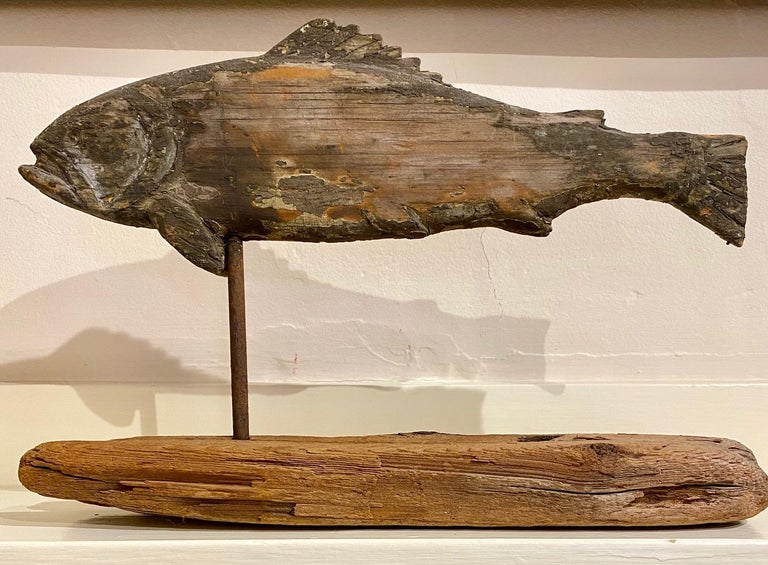 Wood 19th Century Folk Art Fish Weather Vane For Sale