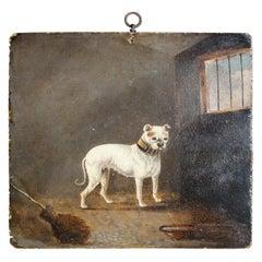 19th Century Folk Art Oil on Board James Lawrence Clark, Cream Bull Dog