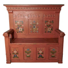 19th Century Folk Art Painted High Back Settle
