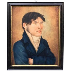 19th Century Folk Art Painting of a Gentleman