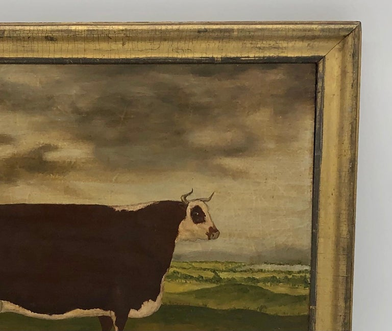 English 19th Century Folk Art Painting of a Prize Bull For Sale