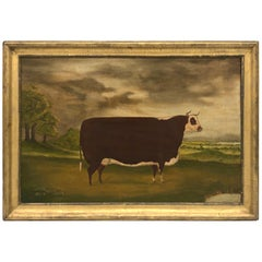 19th Century Folk Art Painting of a Prize Bull