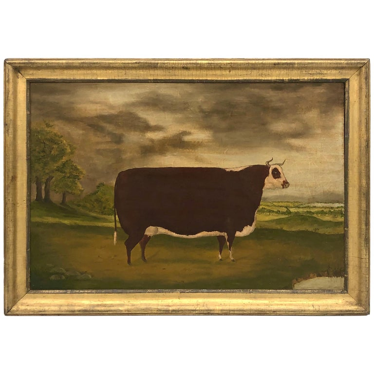 19th Century Folk Art Painting of a Prize Bull For Sale
