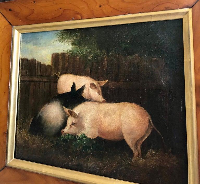 English 19th Century Folk Art Painting of Three Pigs For Sale
