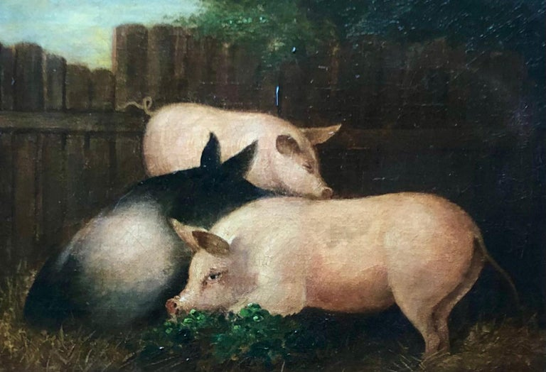 19th Century Folk Art Painting of Three Pigs In Good Condition For Sale In Boulder, CO