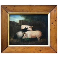 19th Century Folk Art Painting of Three Pigs