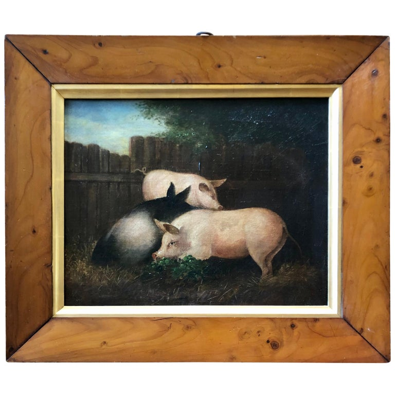 19th Century Folk Art Painting of Three Pigs For Sale