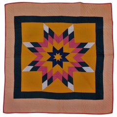 19th Century Folky Star Crib Quilt from Pennsylvania