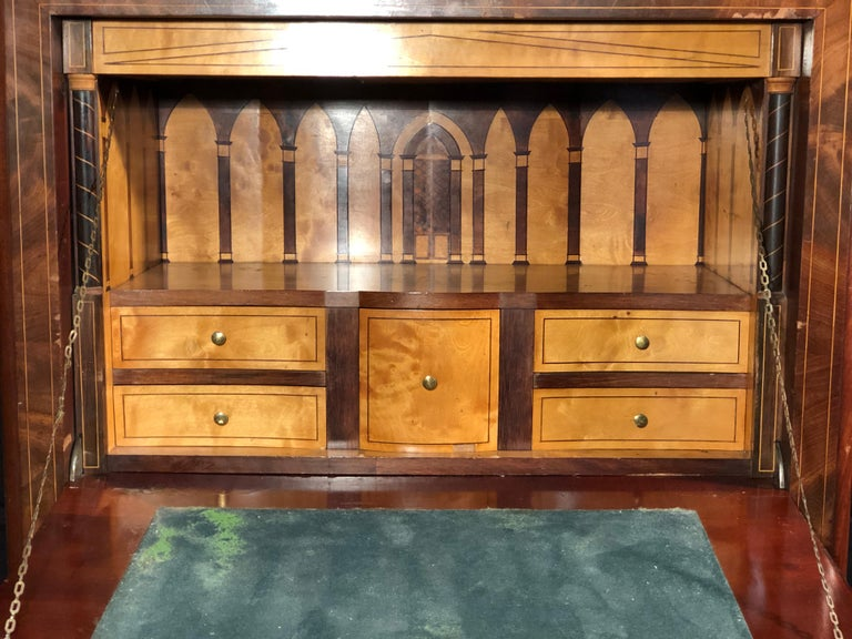 19th Century Charles X Mahogany France Secretaire Marble Top att.L.E. Lemarchand For Sale 9