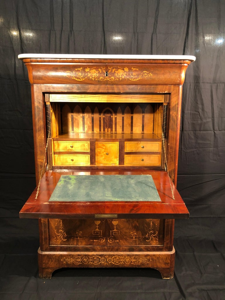 19th Century Charles X Mahogany France Secretaire Marble Top att.L.E. Lemarchand For Sale 10
