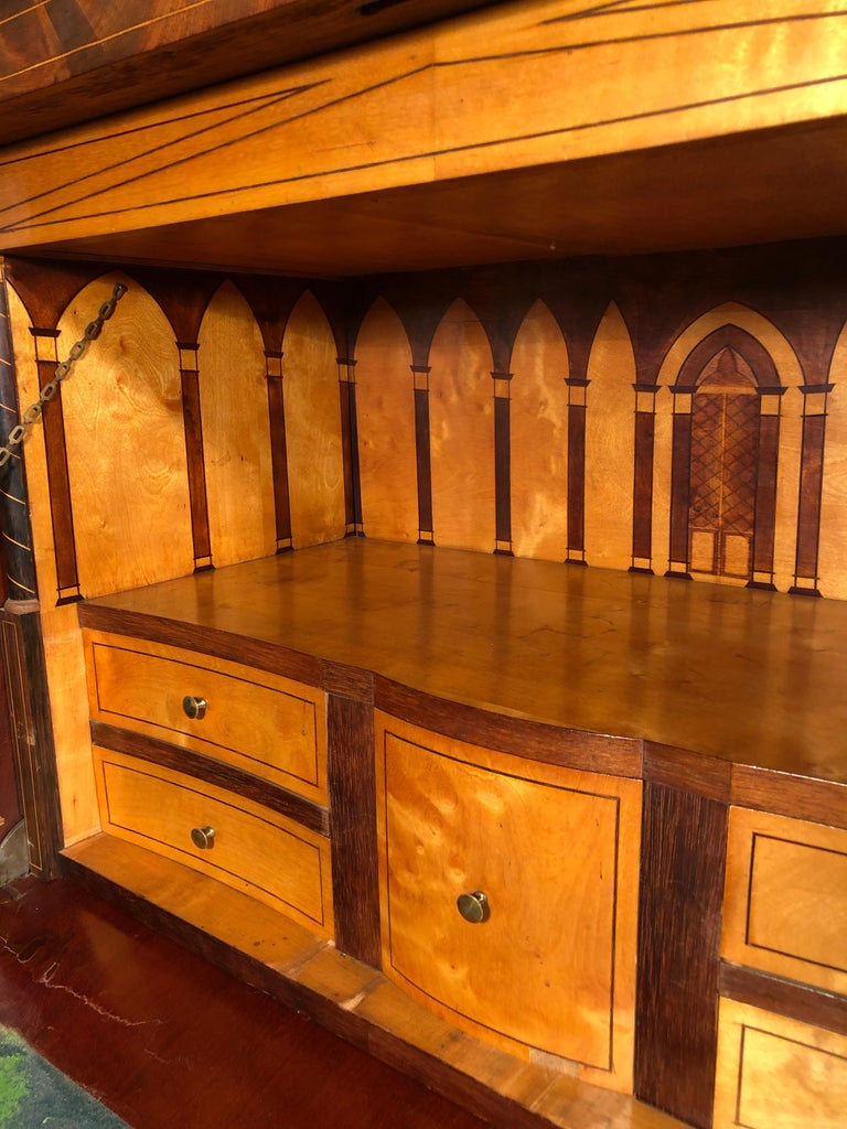 19th Century Charles X Mahogany France Secretaire Marble Top att.L.E. Lemarchand For Sale 11
