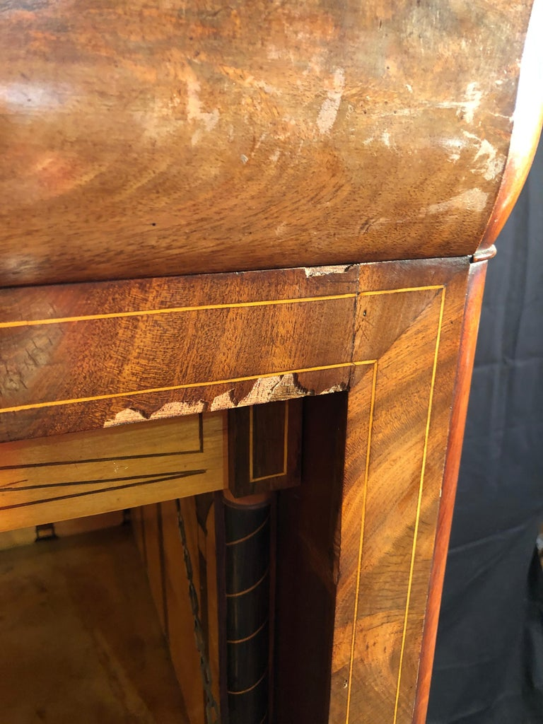 19th Century Charles X Mahogany France Secretaire Marble Top att.L.E. Lemarchand For Sale 13