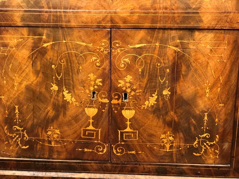 Inlay 19th Century Charles X Mahogany France Secretaire Marble Top att.L.E. Lemarchand For Sale