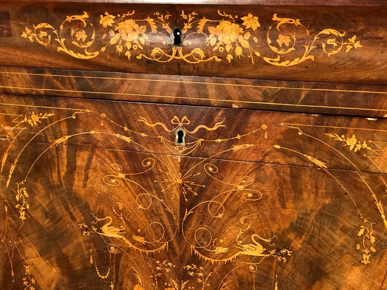 Mid-19th Century 19th Century Charles X Mahogany France Secretaire Marble Top att.L.E. Lemarchand For Sale
