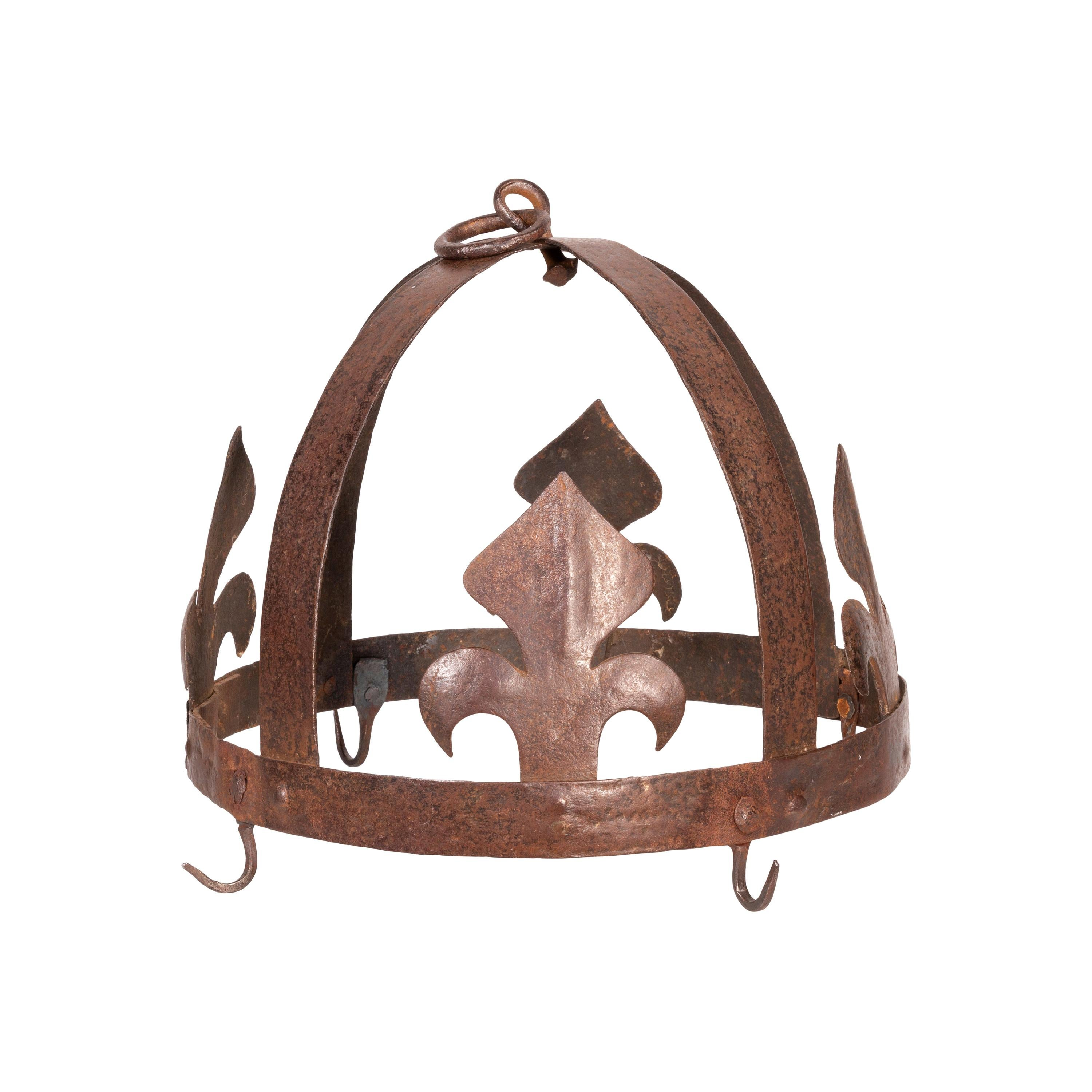 19th Century Forged Iron French Pot Rack