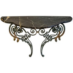19th Century Forgedandgolden Black Iron Demilune French Console with Marble Top