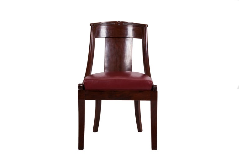 Restauration 19th Century Four French Fruitwood Gondola Chairs For Sale