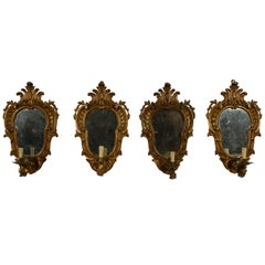 19th Century, Four Italian Carved Giltwood Louis XV Style Sconces