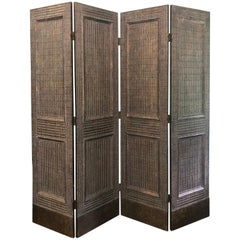 19th Century Four-Panel Folding Screen Decorated with Brass Studs