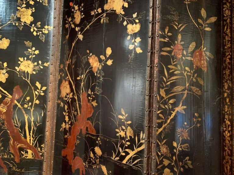 Wood 19th Century Four Panel Japanned Screen with Gilt and Red Decor For Sale