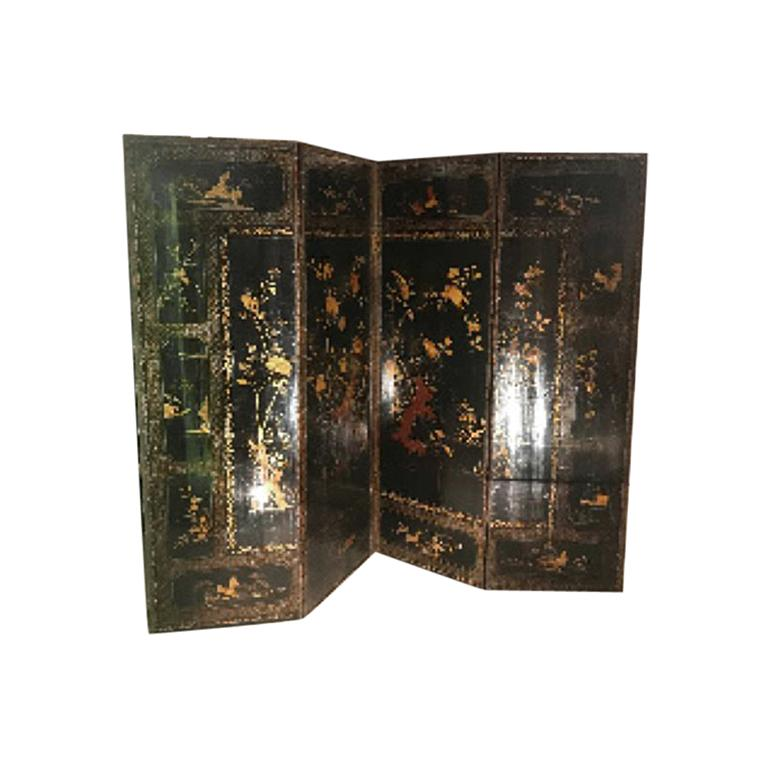 19th Century Four Panel Japanned Screen with Gilt and Red Decor For Sale