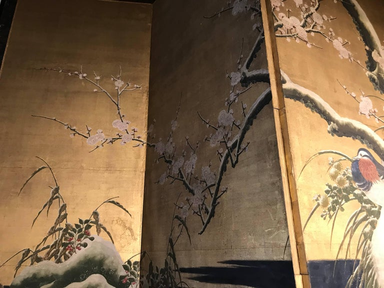 19th Century Four Panel Kano School Chinese Style Folding Screen Or