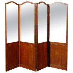 19th Century Four-Panel Mahogany and Mirrored Screen, Probably English