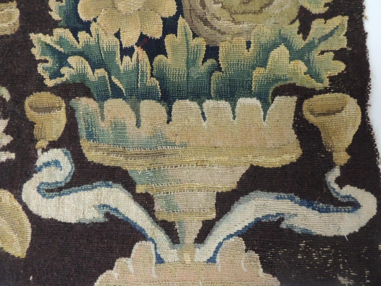 Regency 19th Century Fragment of Green and Brown Verdure Tapestry For Sale