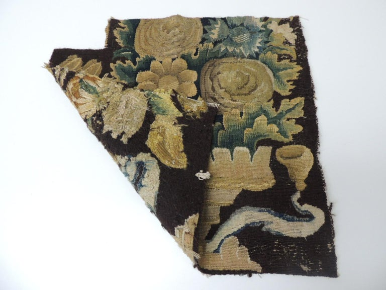 French 19th Century Fragment of Green and Brown Verdure Tapestry For Sale
