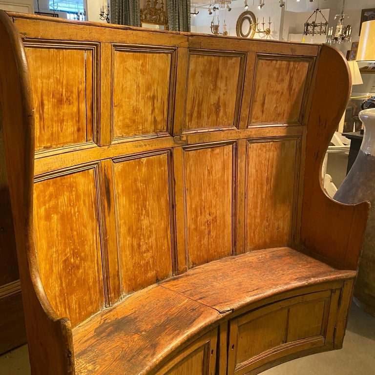 European 19th Century, Framed and Paneled Pine Settle Bench For Sale