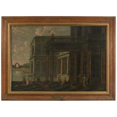 19th Century Framed Antique Oil Painting of a French Court Scene