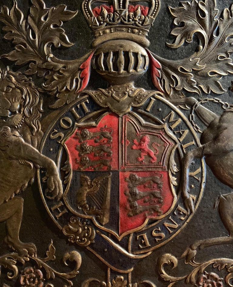 English 19th Century Framed Embossed Leather Royal Coat of Arms of The United Kingdom For Sale