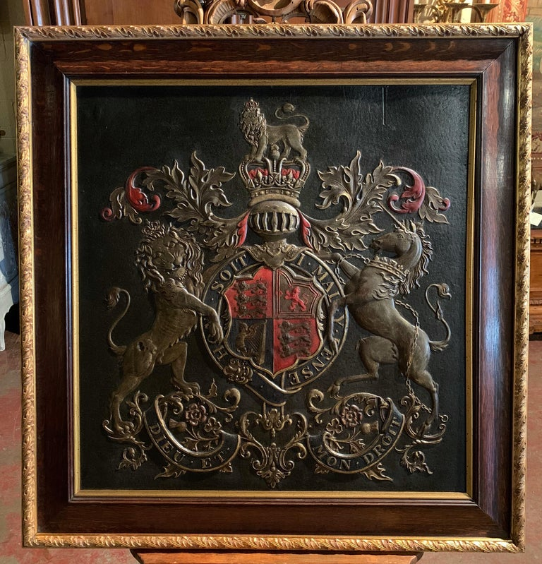 19th Century Framed Embossed Leather Royal Coat of Arms of The United Kingdom In Excellent Condition For Sale In Dallas, TX
