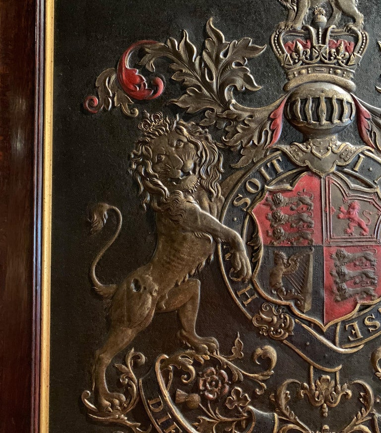 19th Century Framed Embossed Leather Royal Coat of Arms of The United Kingdom For Sale 2