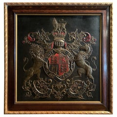 19th Century Framed Embossed Leather Royal Coat of Arms of The United Kingdom