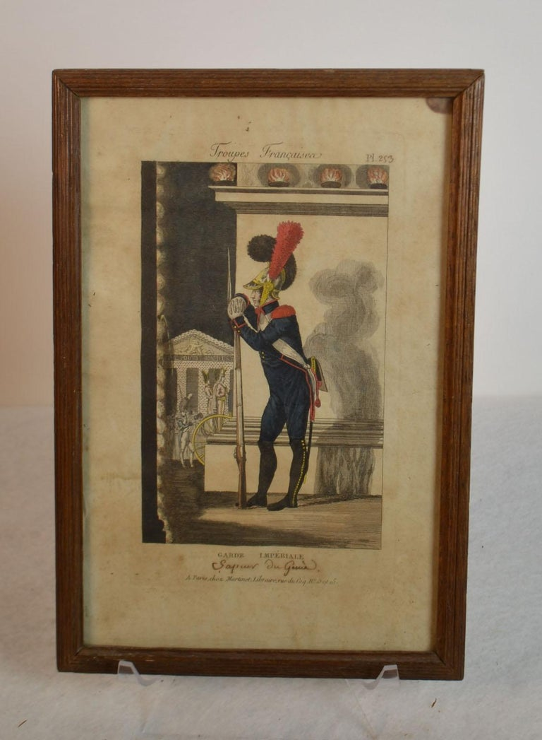 Framed Empire period engraving of French cavalry French troops: Imperial Guard bookseller A. Martinet in Paris, and Saluden Brest Galarie.