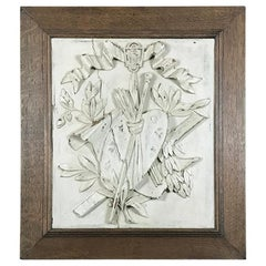 19th Century Framed Hand Carved and Painted Wood Plaque