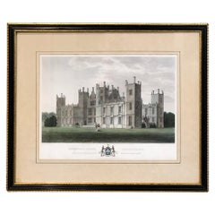 19th Century Framed Hand-Colored Engraving of Sherborne Lodge in Dorsetshire