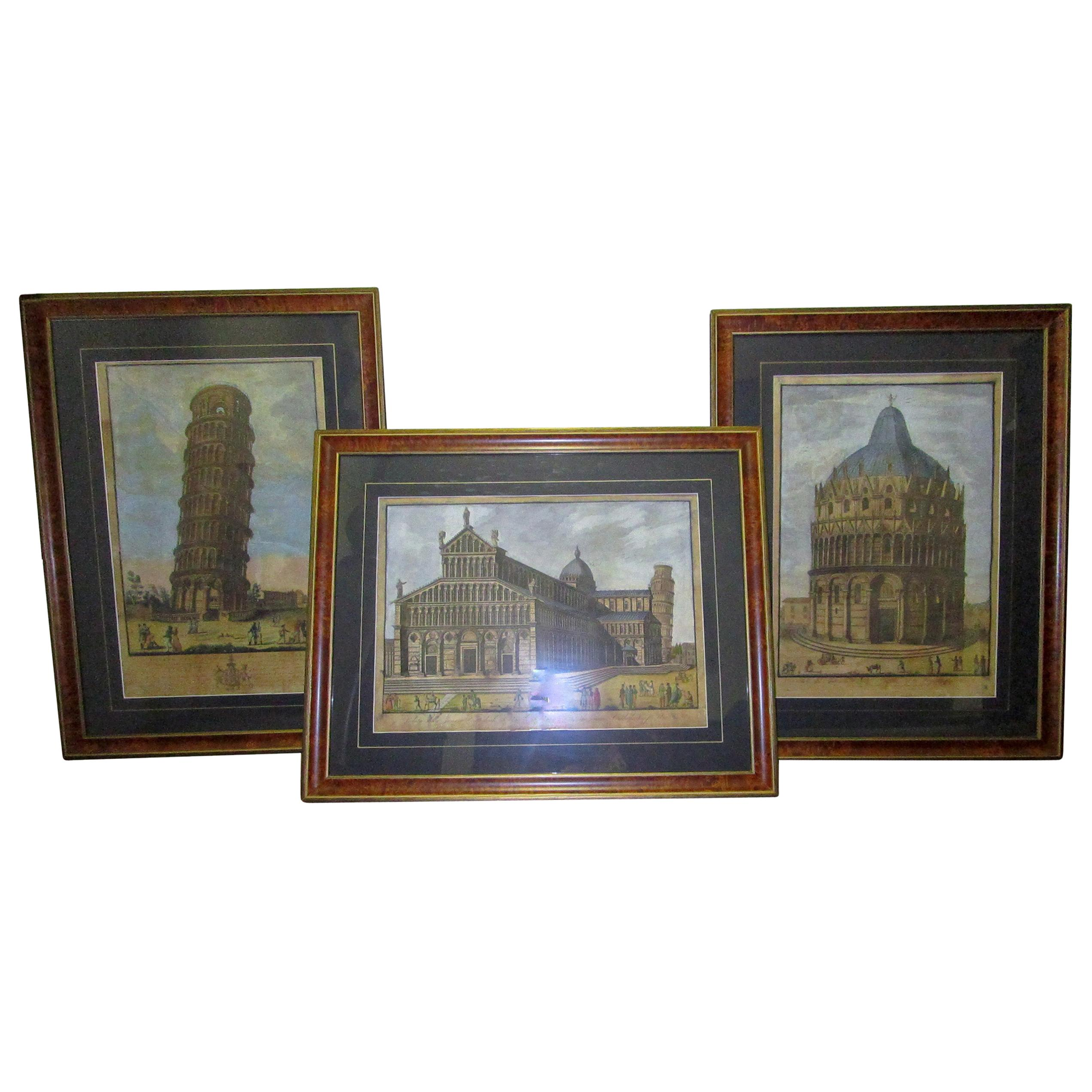 19th Century Framed Italian Prints of Pisa by Engraver Antonio Verico
