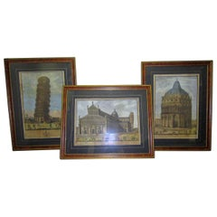 19th Century Framed Italian Prints of Pisa by Engraver Antonio Verico