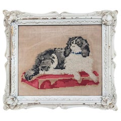 19th Century Framed Needlework of King Charles Spaniel Dog