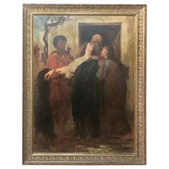 19th Century Framed Oil on Canvas, The Departure by G. Bribet