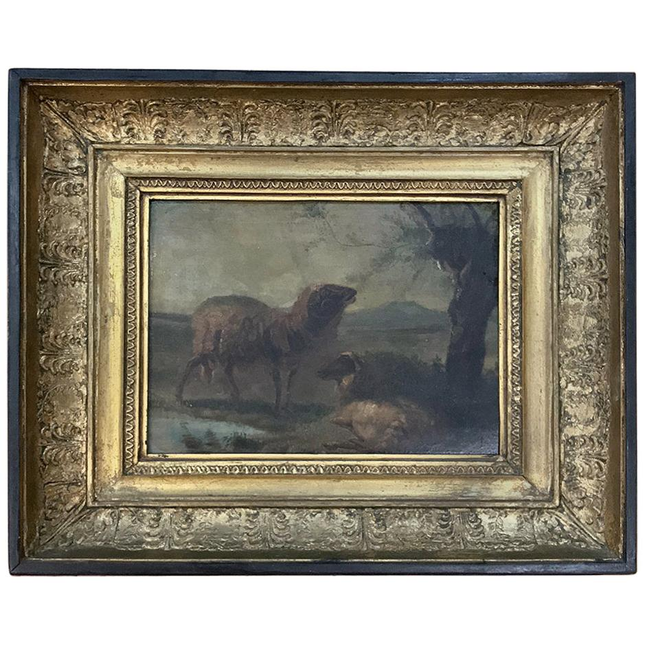 19th Century Framed Oil Painting on Board
