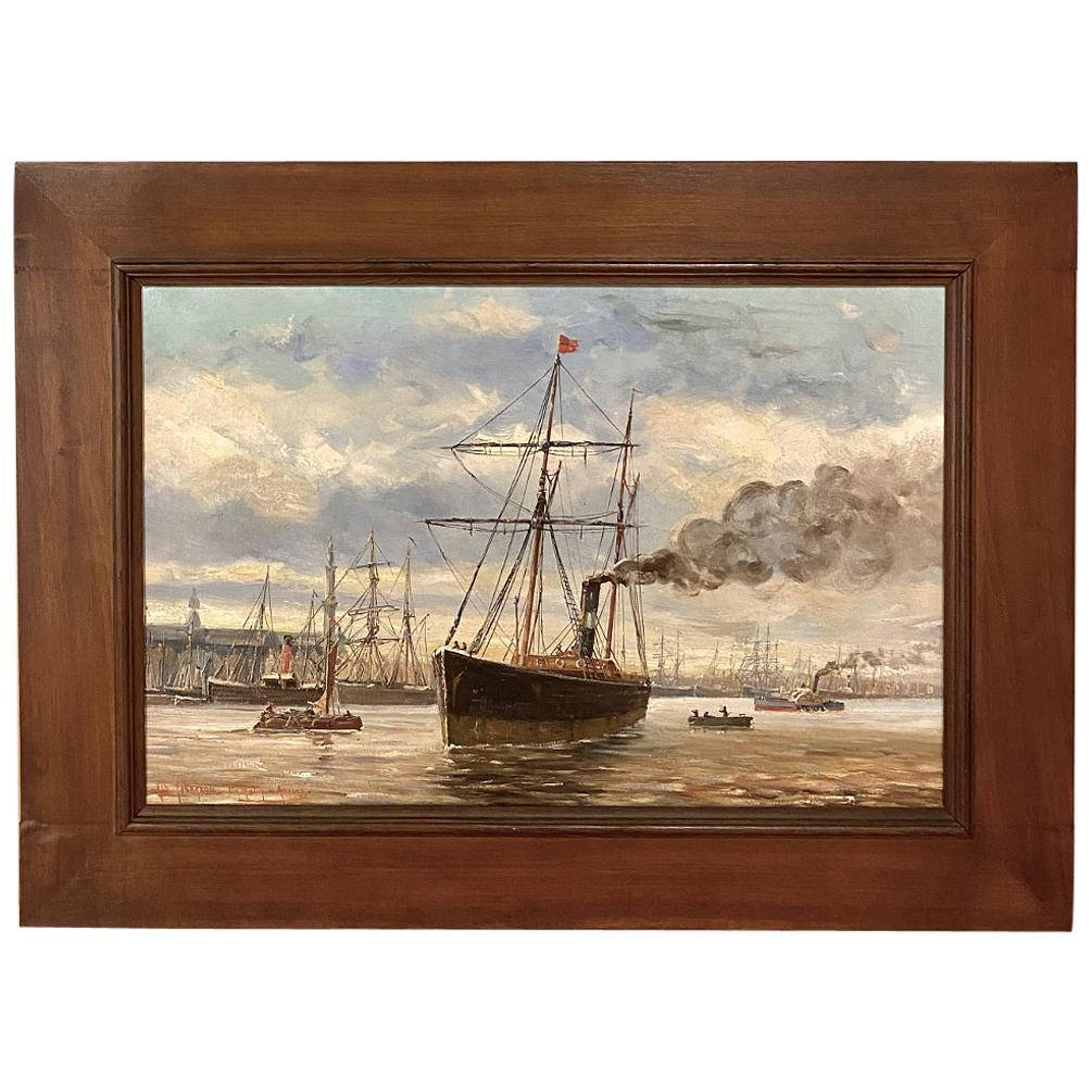 19th Century Framed Oil Painting on Canvas by A. Jaboneau