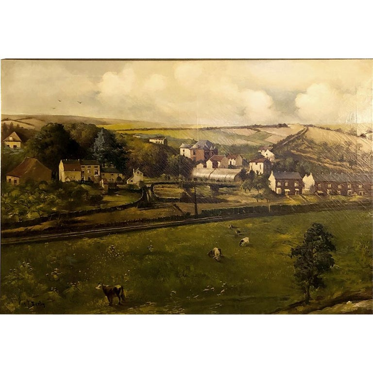 19th century framed oil painting on canvas by Alfred Bastin (1849-1913) is a panoramic work revealing the incredible charms of a country village nestled in the rolling hills of northern France. The billowing clouds that stretch across the top of the