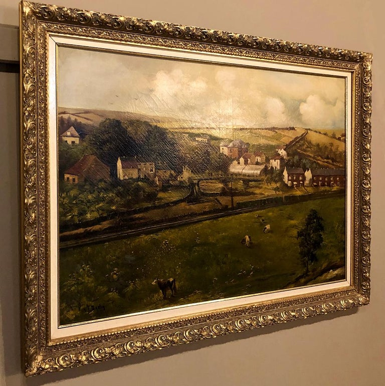 Belle Époque 19th Century Framed Oil Painting on Canvas by Alfred Bastin For Sale