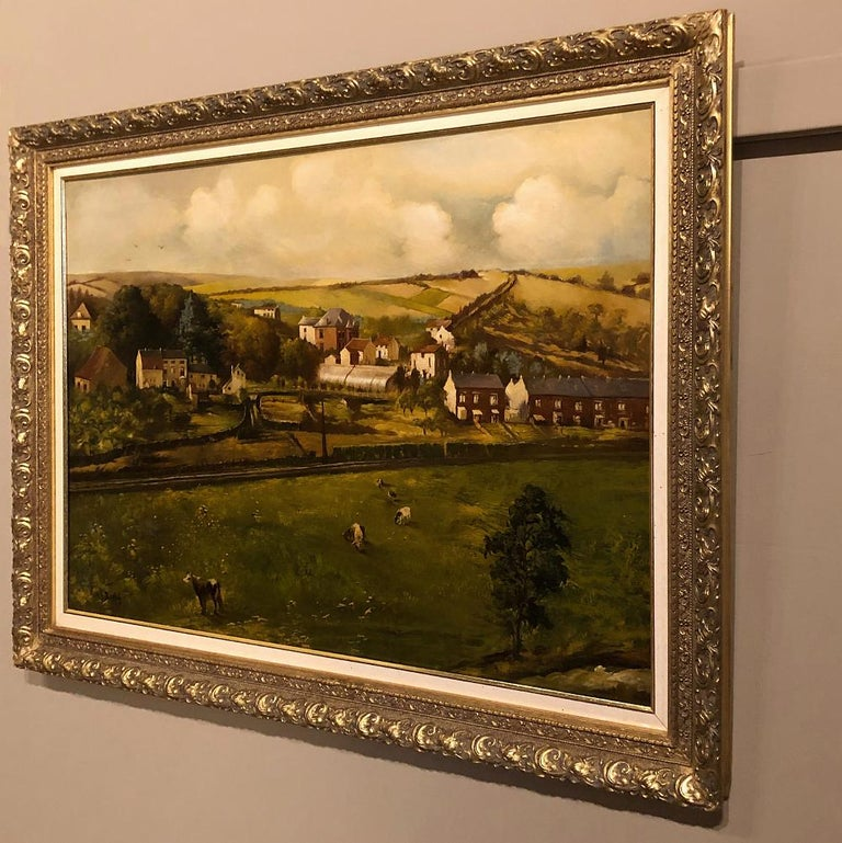 French 19th Century Framed Oil Painting on Canvas by Alfred Bastin For Sale